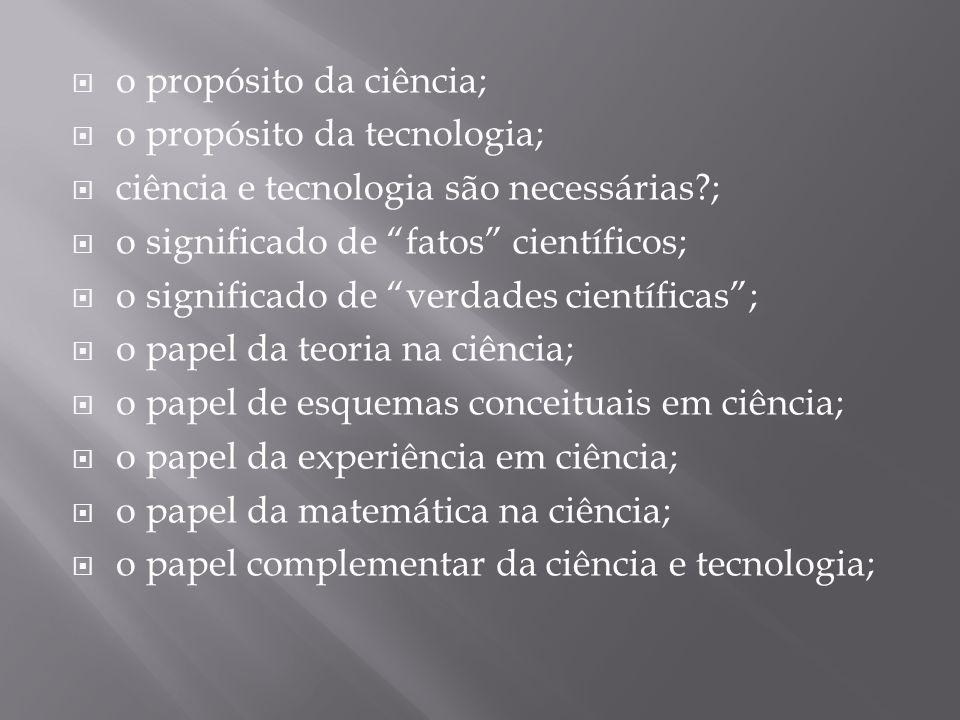 """ o propósito da ciência;  o propósito da tecnologia;  ciência e tecnologia são necessárias?;  o significado de """"fatos"""" científicos;  o significad"""