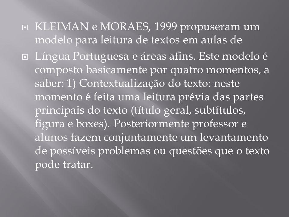  KLEIMAN e MORAES, 1999 propuseram um modelo para leitura de textos em aulas de  Língua Portuguesa e áreas afins. Este modelo é composto basicamente