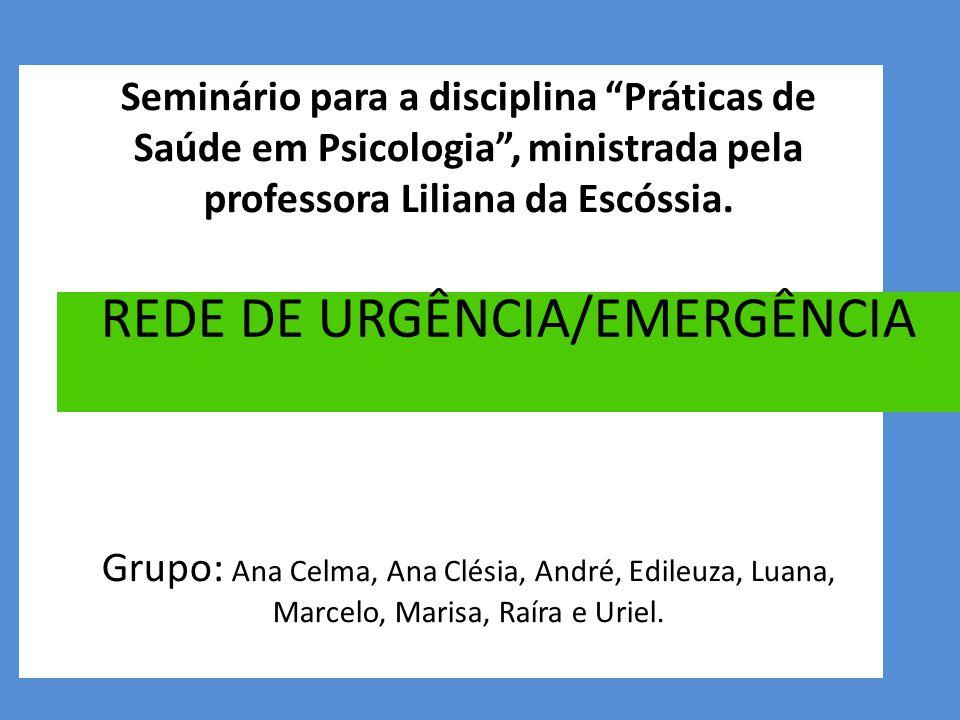 Seminário para a disciplina Práticas de Saúde em Psicologia , ministrada pela professora Liliana da Escóssia.