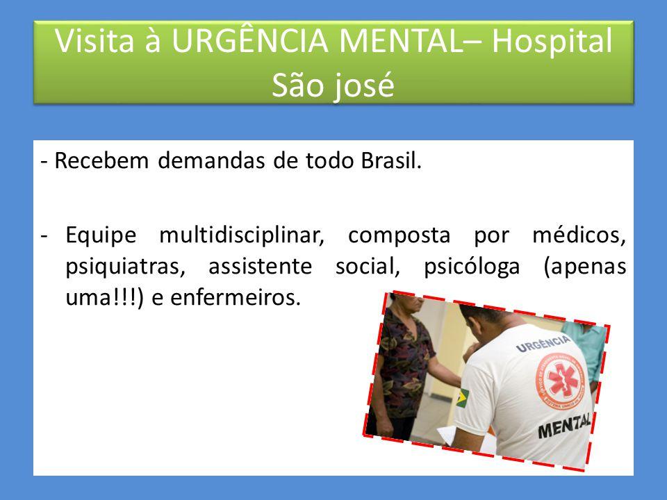 Visita à URGÊNCIA MENTAL– Hospital São José PMA entrega nova Urgência Mental do Hospital São José Após quatro meses em reforma, a nova Urgência Mental