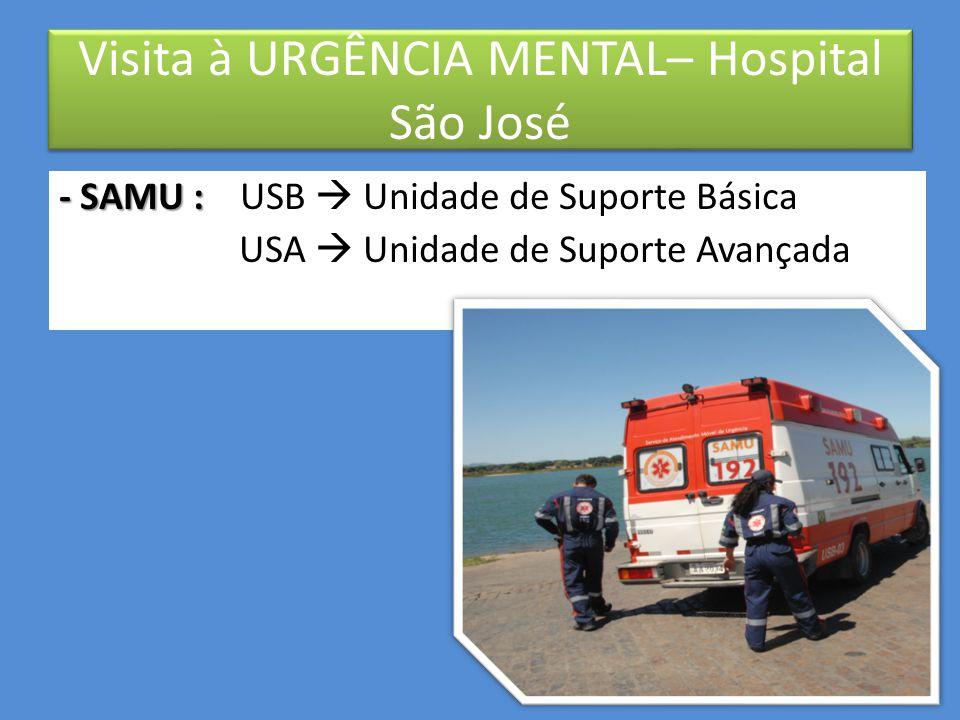 – Alas: • Verde: recepção  triagem • Amarela: área de observação  definição de conduta • Vermelha: internação (até 72hs) : Único a acolher também adolescentes Visita à URGÊNCIA MENTAL– Hospital São José