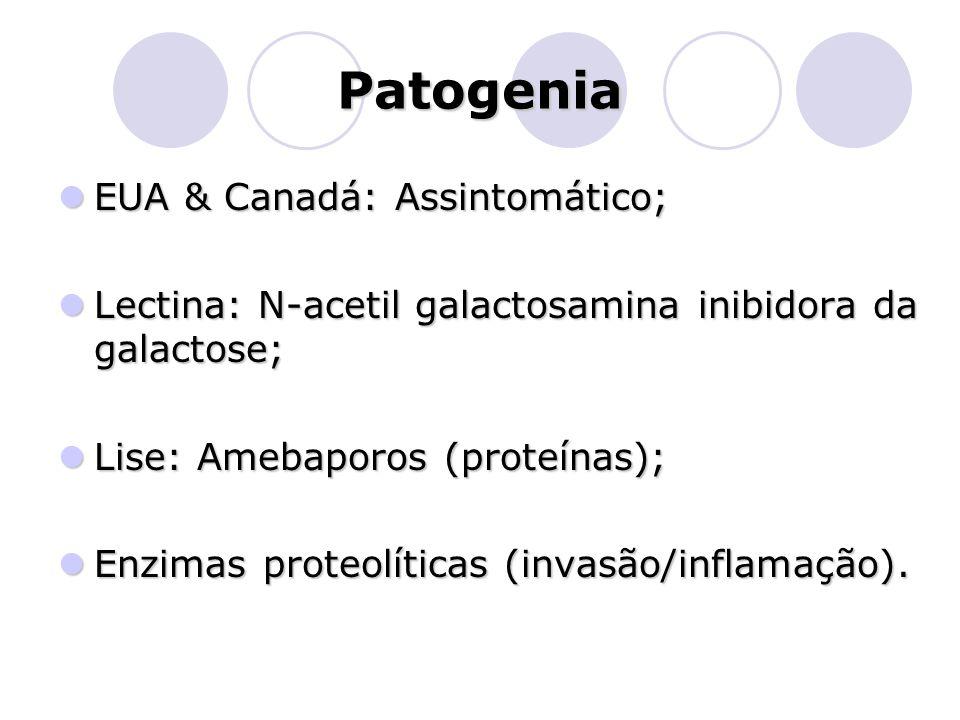 Patogenia  EUA & Canadá: Assintomático;  Lectina: N-acetil galactosamina inibidora da galactose;  Lise: Amebaporos (proteínas);  Enzimas proteolít