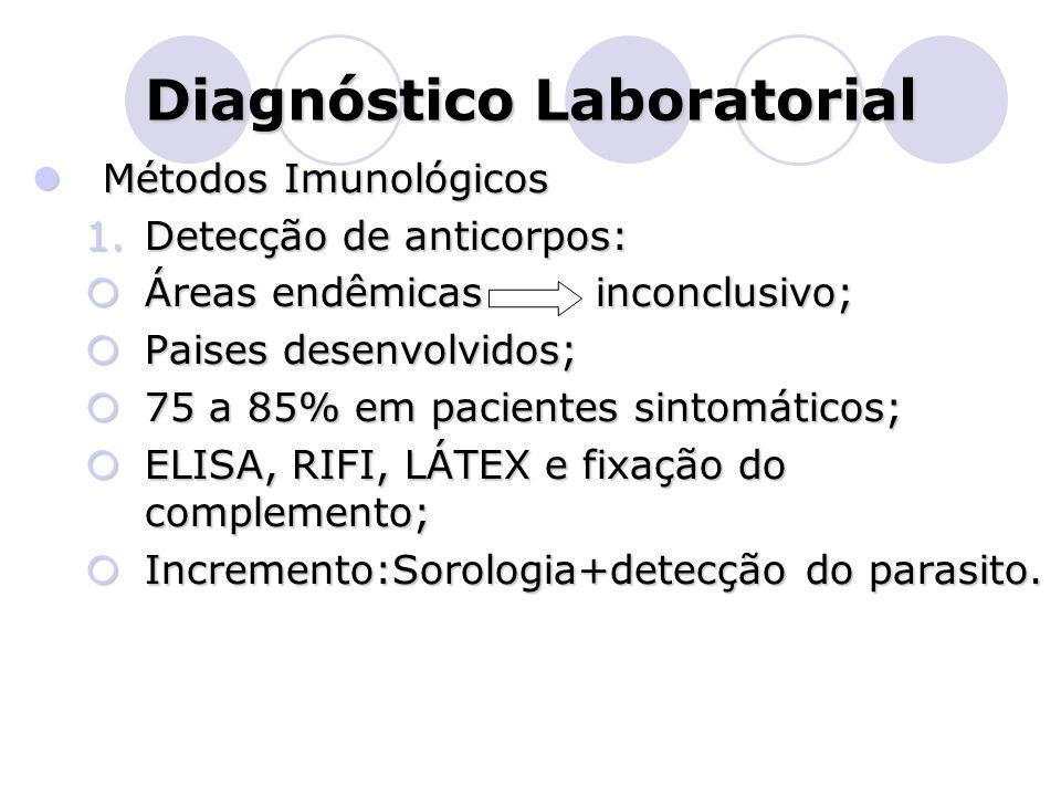 Diagnóstico Laboratorial  Métodos Imunológicos 1.Detecção de anticorpos:  Áreas endêmicas inconclusivo;  Paises desenvolvidos;  75 a 85% em pacien