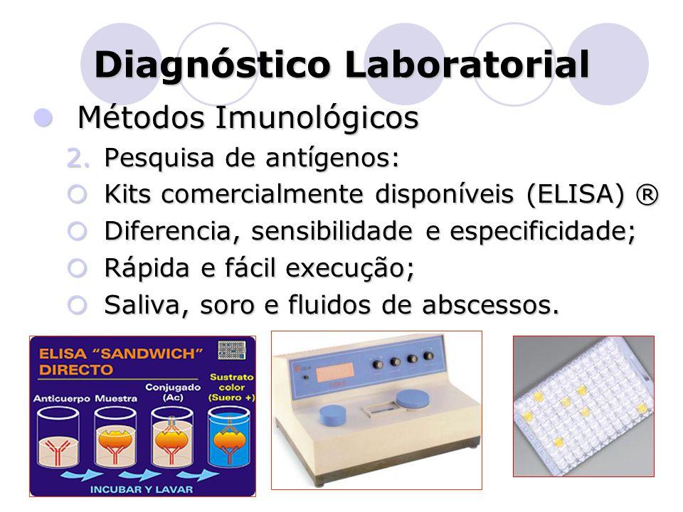 Diagnóstico Laboratorial  Métodos Imunológicos 2.Pesquisa de antígenos:  Kits comercialmente disponíveis (ELISA) ®  Diferencia, sensibilidade e esp