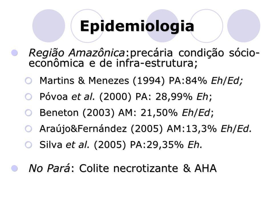 Epidemiologia  Região Amazônica:precária condição sócio- econômica e de infra-estrutura;  Martins & Menezes (1994) PA:84% Eh/Ed;  Póvoa et al. (200