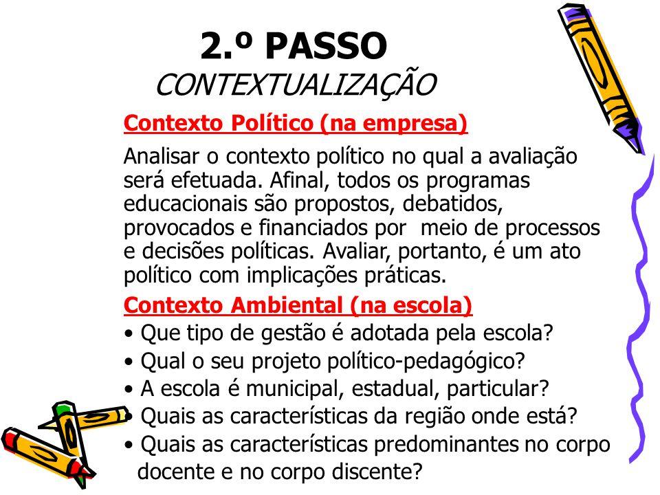 Contexto Político (na empresa) Analisar o contexto político no qual a avaliação será efetuada. Afinal, todos os programas educacionais são propostos,