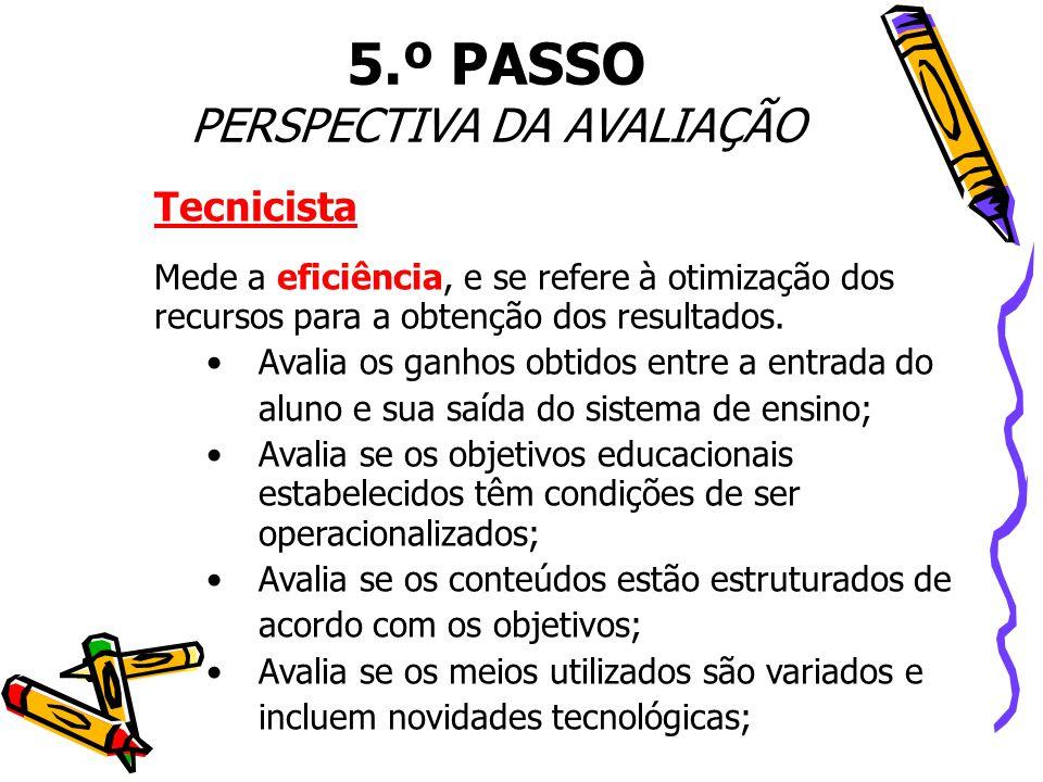 Tecnicista Mede a eficiência, e se refere à otimização dos recursos para a obtenção dos resultados. • Avalia os ganhos obtidos entre a entrada do alun