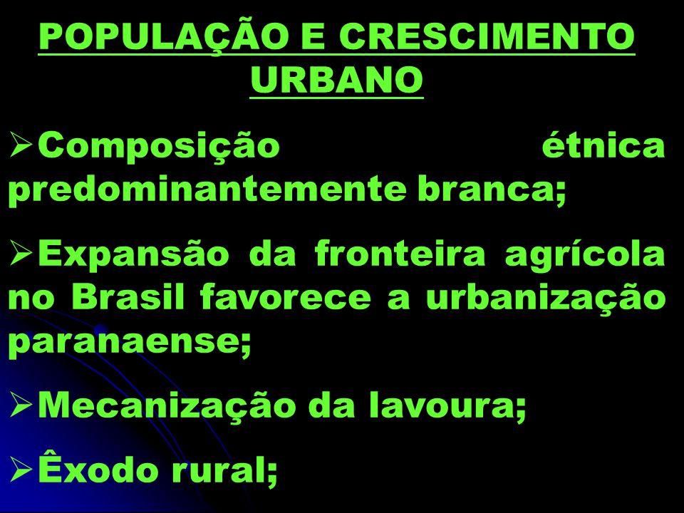 POPULAÇÃO E CRESCIMENTO URBANO  Composição étnica predominantemente branca;  Expansão da fronteira agrícola no Brasil favorece a urbanização paranaense;  Mecanização da lavoura;  Êxodo rural;