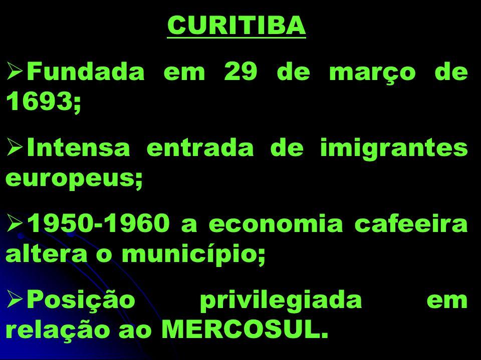 CURITIBA  Fundada em 29 de março de 1693;  Intensa entrada de imigrantes europeus;  1950-1960 a economia cafeeira altera o município;  Posição privilegiada em relação ao MERCOSUL.