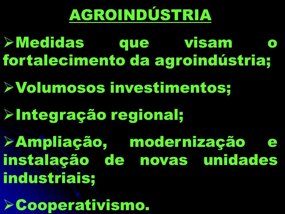 AGROINDÚSTRIA  Medidas que visam o fortalecimento da agroindústria;  Volumosos investimentos;  Integração regional;  Ampliação, modernização e instalação de novas unidades industriais;  Cooperativismo.