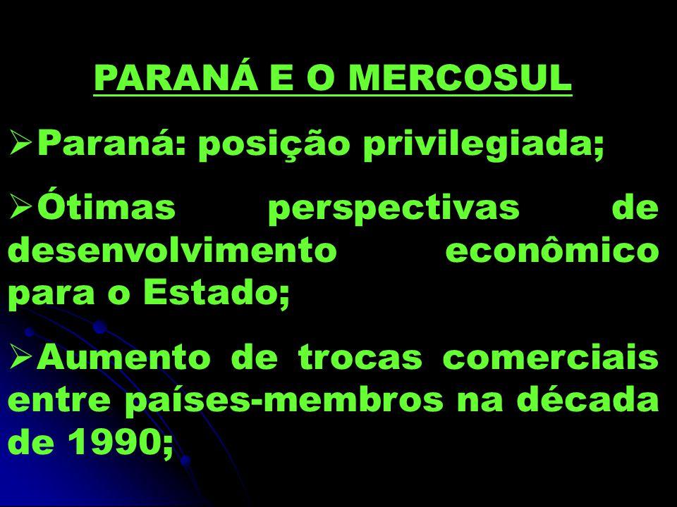 PARANÁ E O MERCOSUL  Paraná: posição privilegiada;  Ótimas perspectivas de desenvolvimento econômico para o Estado;  Aumento de trocas comerciais entre países-membros na década de 1990;
