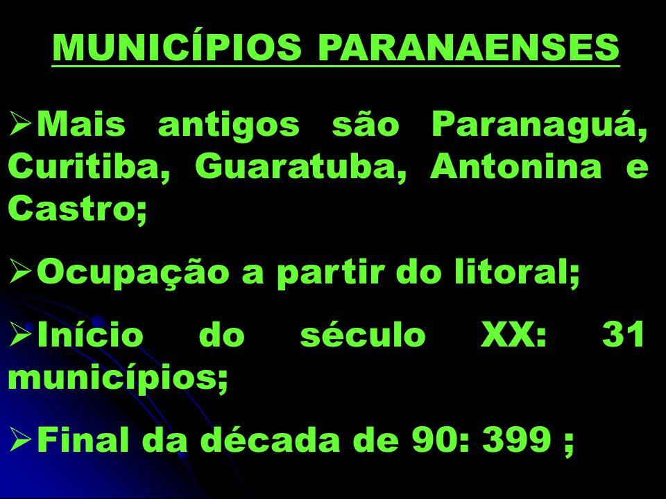  Mais antigos são Paranaguá, Curitiba, Guaratuba, Antonina e Castro;  Ocupação a partir do litoral;  Início do século XX: 31 municípios;  Final da década de 90: 399 ; MUNICÍPIOS PARANAENSES