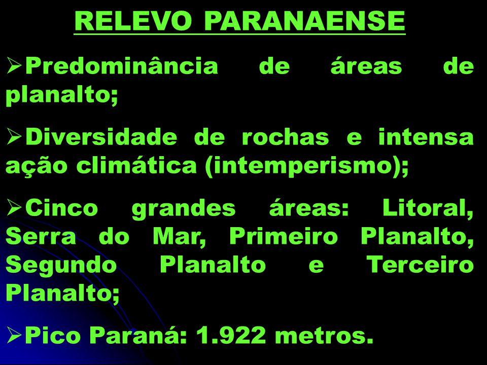 RELEVO PARANAENSE  Predominância de áreas de planalto;  Diversidade de rochas e intensa ação climática (intemperismo);  Cinco grandes áreas: Litoral, Serra do Mar, Primeiro Planalto, Segundo Planalto e Terceiro Planalto;  Pico Paraná: 1.922 metros.