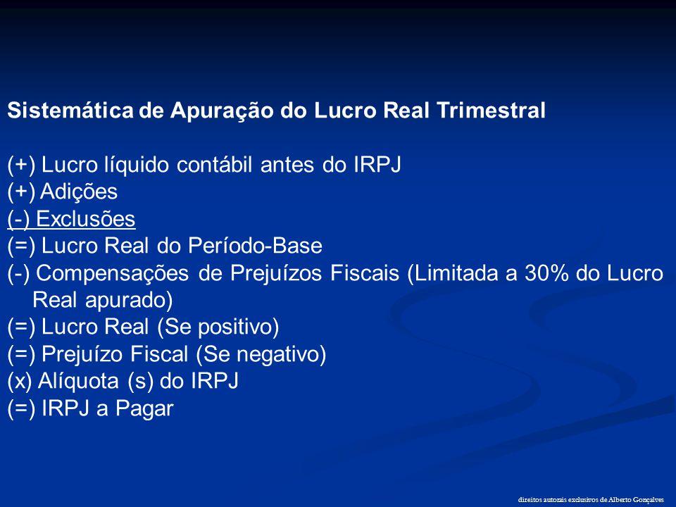 direitos autorais exclusivos de Alberto Gonçalves Sistemática de Apuração do Lucro Real Trimestral (+) Lucro líquido contábil antes do IRPJ (+) Adiçõe