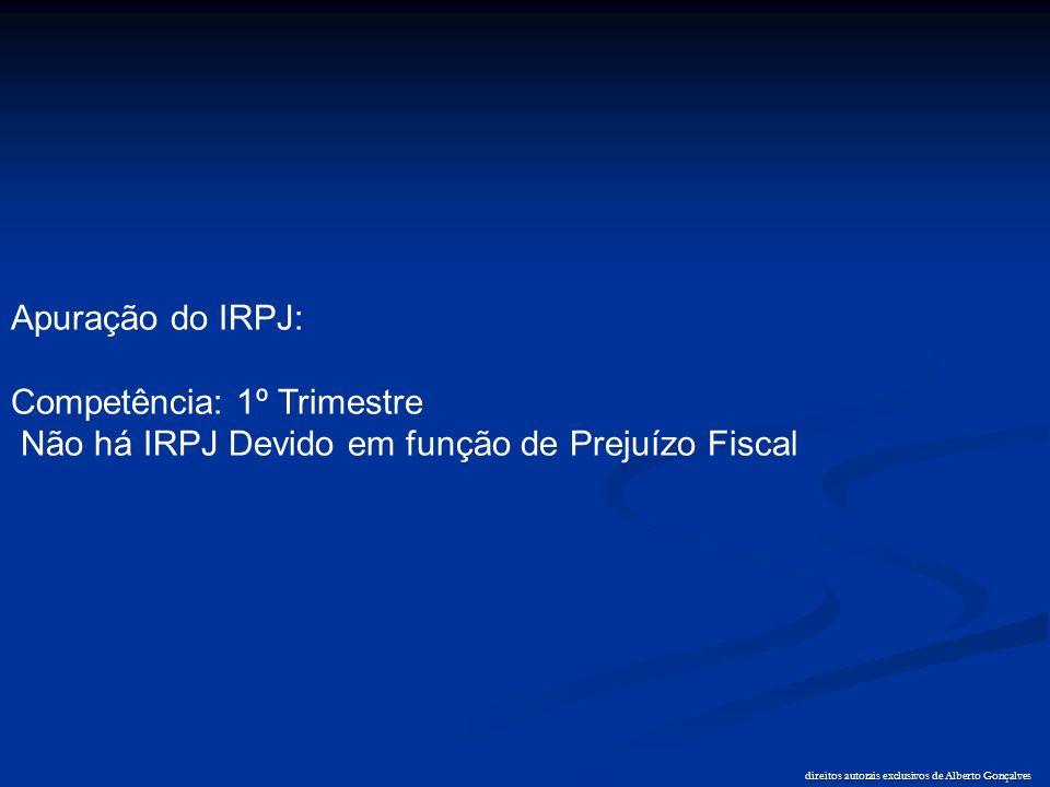 direitos autorais exclusivos de Alberto Gonçalves Apuração do IRPJ: Competência: 1º Trimestre Não há IRPJ Devido em função de Prejuízo Fiscal