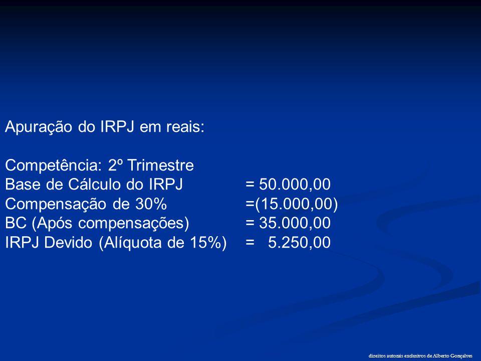 direitos autorais exclusivos de Alberto Gonçalves Apuração do IRPJ em reais: Competência: 2º Trimestre Base de Cálculo do IRPJ = 50.000,00 Compensação