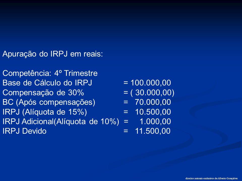 direitos autorais exclusivos de Alberto Gonçalves Apuração do IRPJ em reais: Competência: 4º Trimestre Base de Cálculo do IRPJ = 100.000,00 Compensaçã