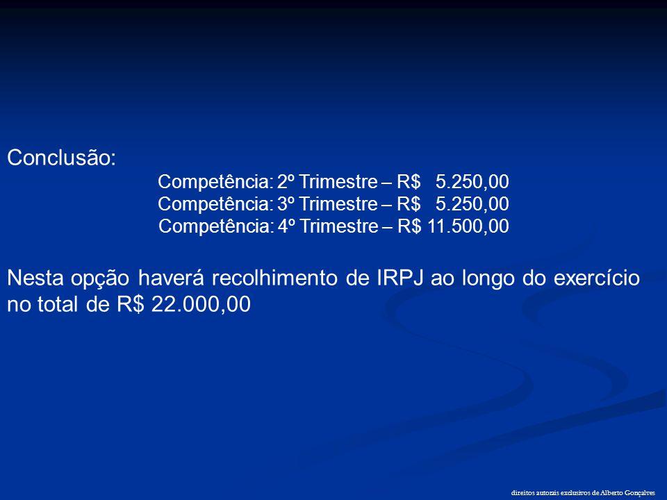 direitos autorais exclusivos de Alberto Gonçalves Conclusão: Competência: 2º Trimestre – R$ 5.250,00 Competência: 3º Trimestre – R$ 5.250,00 Competênc