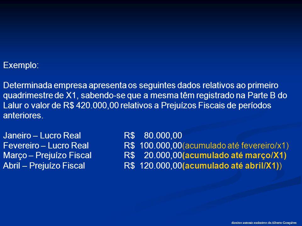 direitos autorais exclusivos de Alberto Gonçalves Exemplo: Determinada empresa apresenta os seguintes dados relativos ao primeiro quadrimestre de X1,