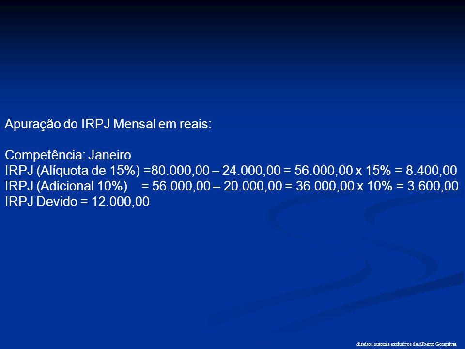 direitos autorais exclusivos de Alberto Gonçalves Apuração do IRPJ Mensal em reais: Competência: Janeiro IRPJ (Alíquota de 15%) =80.000,00 – 24.000,00