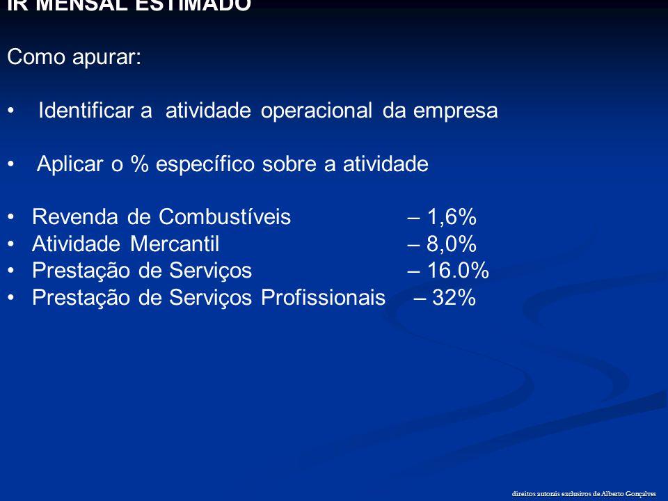 direitos autorais exclusivos de Alberto Gonçalves IR MENSAL ESTIMADO Como apurar: • Identificar a atividade operacional da empresa • Aplicar o % espec