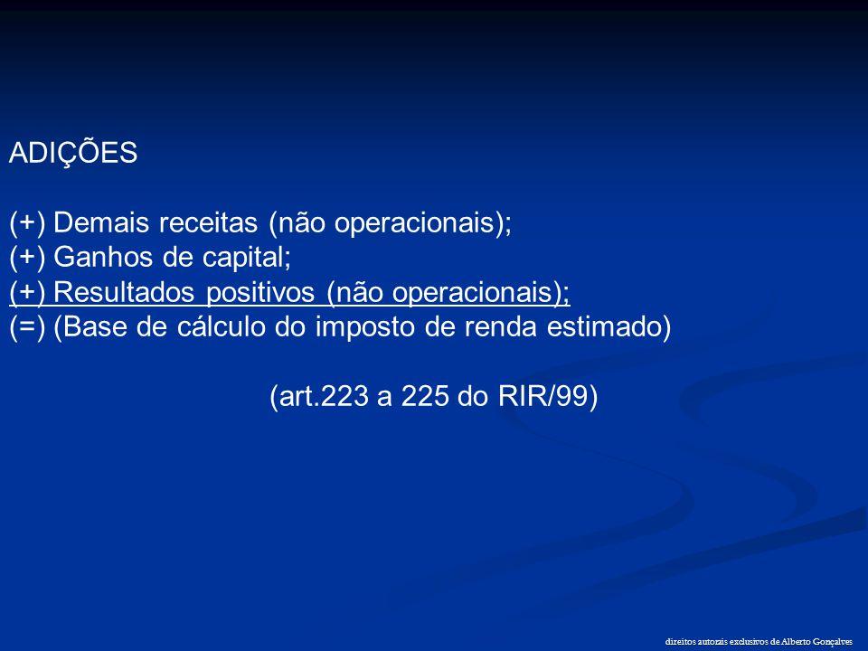direitos autorais exclusivos de Alberto Gonçalves ADIÇÕES (+) Demais receitas (não operacionais); (+) Ganhos de capital; (+) Resultados positivos (não