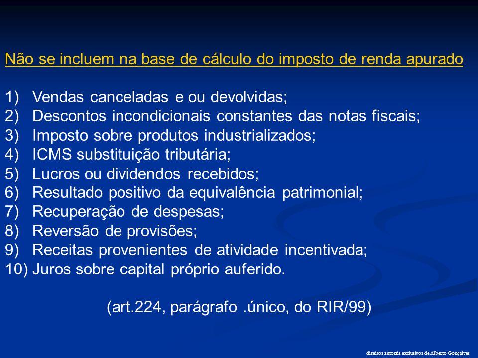 direitos autorais exclusivos de Alberto Gonçalves Não se incluem na base de cálculo do imposto de renda apurado 1) Vendas canceladas e ou devolvidas;