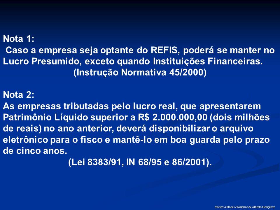 direitos autorais exclusivos de Alberto Gonçalves Nota 1: Caso a empresa seja optante do REFIS, poderá se manter no Lucro Presumido, exceto quando Ins