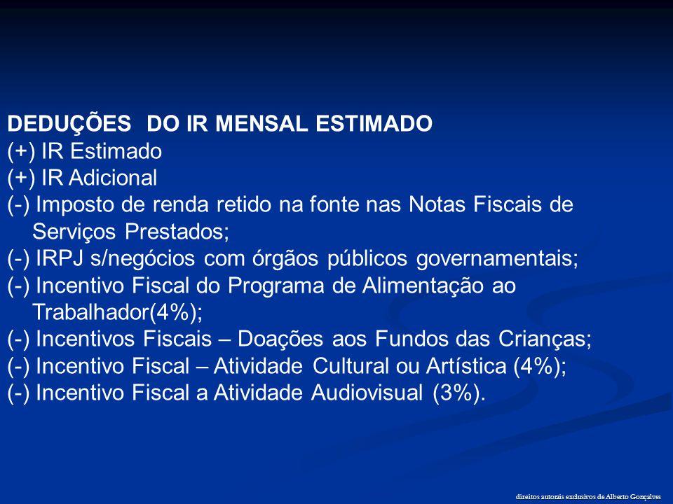 direitos autorais exclusivos de Alberto Gonçalves DEDUÇÕES DO IR MENSAL ESTIMADO (+) IR Estimado (+) IR Adicional (-) Imposto de renda retido na fonte