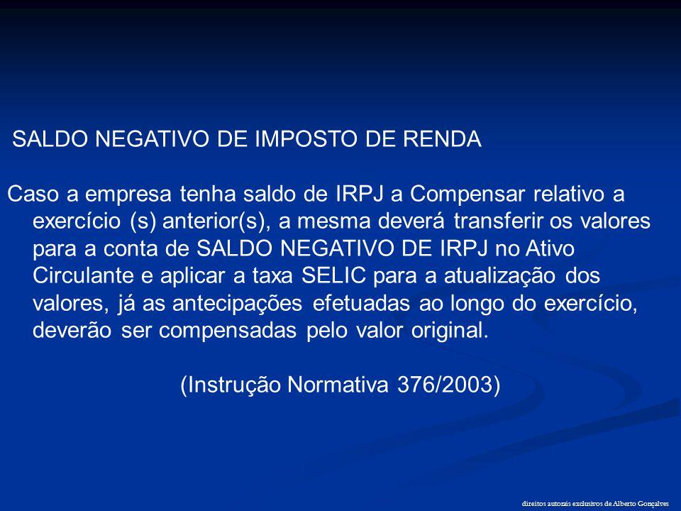 direitos autorais exclusivos de Alberto Gonçalves SALDO NEGATIVO DE IMPOSTO DE RENDA Caso a empresa tenha saldo de IRPJ a Compensar relativo a exercíc
