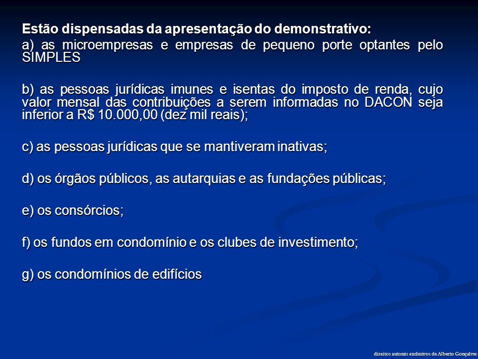 Estão dispensadas da apresentação do demonstrativo: a) as microempresas e empresas de pequeno porte optantes pelo SIMPLES b) as pessoas jurídicas imun