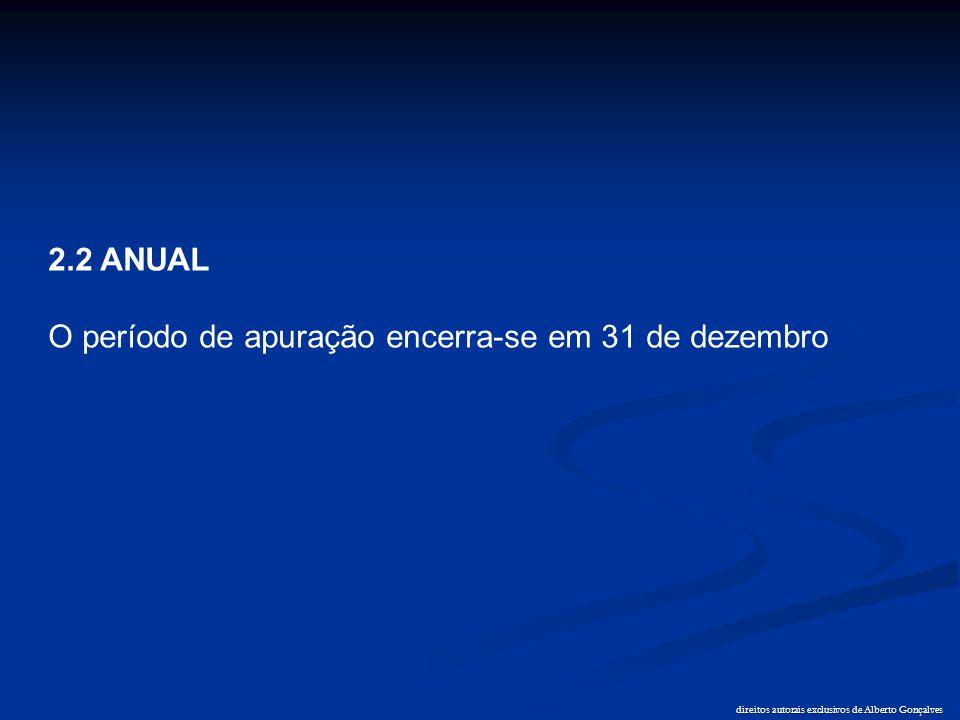 direitos autorais exclusivos de Alberto Gonçalves 2.2 ANUAL O período de apuração encerra-se em 31 de dezembro