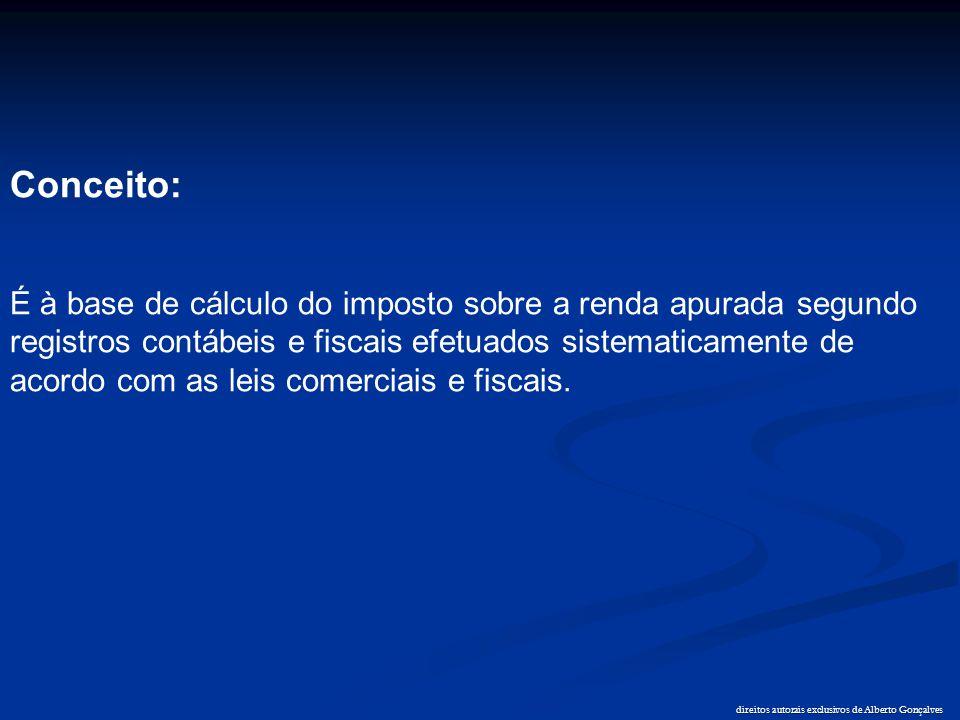 direitos autorais exclusivos de Alberto Gonçalves ADIÇÕES (+) Demais receitas (não operacionais); (+) Ganhos de capital; (+) Resultados positivos (não operacionais); (=) (Base de cálculo do imposto de renda estimado) (art.223 a 225 do RIR/99)