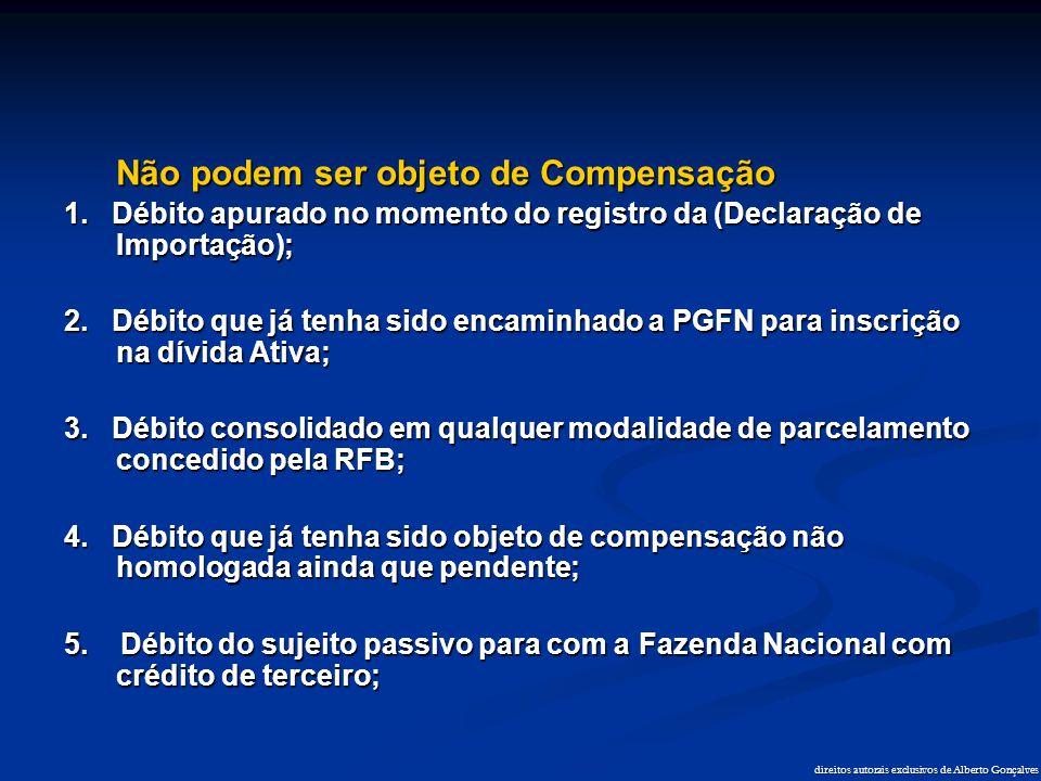 direitos autorais exclusivos de Alberto Gonçalves Não podem ser objeto de Compensação 1. Débito apurado no momento do registro da (Declaração de Impor