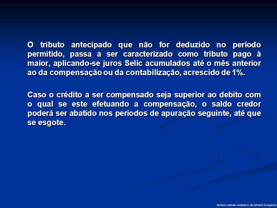 direitos autorais exclusivos de Alberto Gonçalves O tributo antecipado que não for deduzido no período permitido, passa a ser caracterizado como tribu