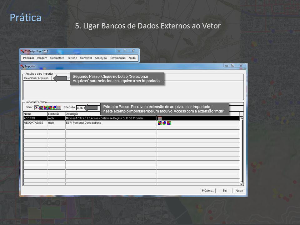 Prática Primeiro Passo: Escreva a extensão do arquivo a ser importado; neste exemplo importaremos um arquivo Access com a extensão mdb .