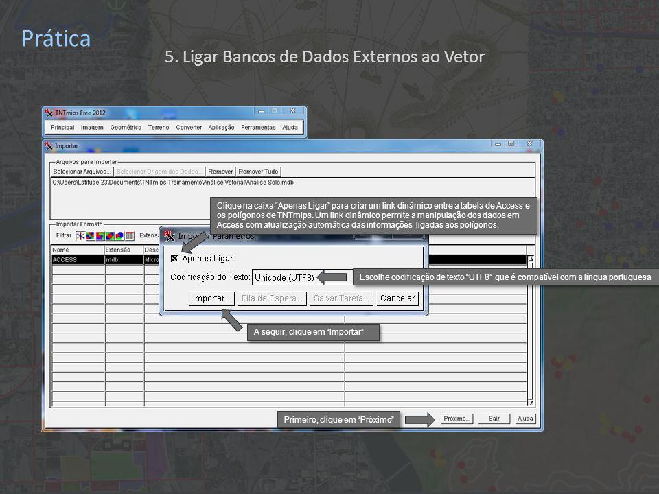 Prática Clique no ícone Relacionar A tabela Access Análise Solo foi associada ao vetor Fazenda CC , porém os determinados registros dentro desta tabela ainda não são associados aos referentes polígonos do vetor.