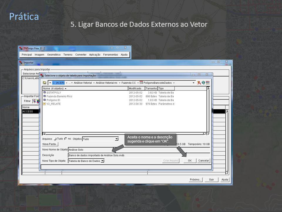 Prática A seguir, clique em Sair 5. Ligar Bancos de Dados Externos ao Vetor