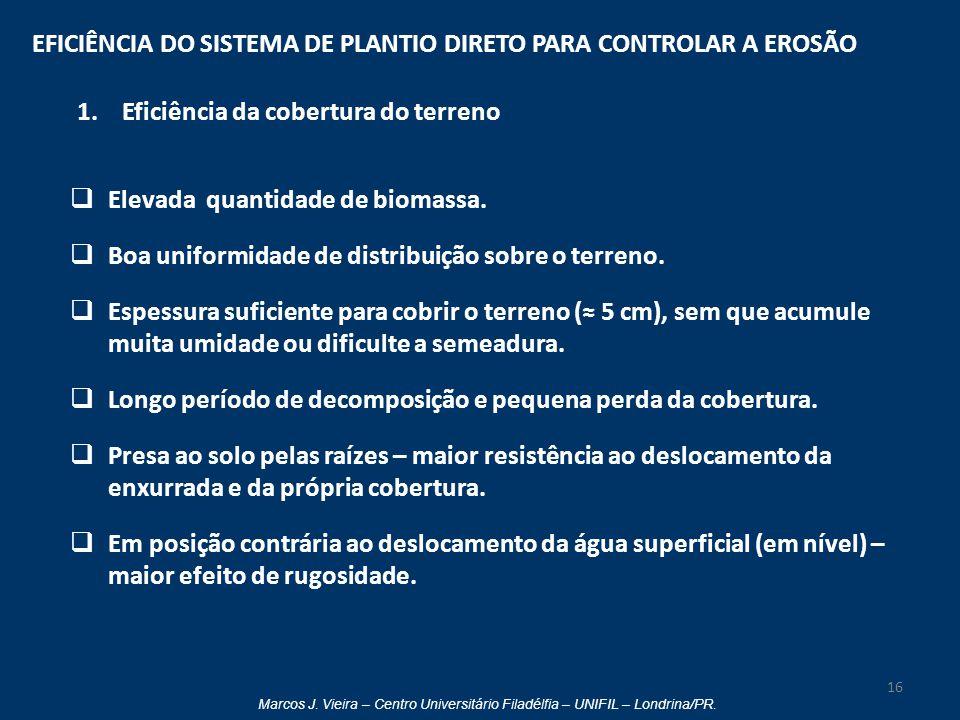 Marcos J. Vieira – Centro Universitário Filadélfia – UNIFIL – Londrina/PR. EFICIÊNCIA DO SISTEMA DE PLANTIO DIRETO PARA CONTROLAR A EROSÃO 1. Eficiênc