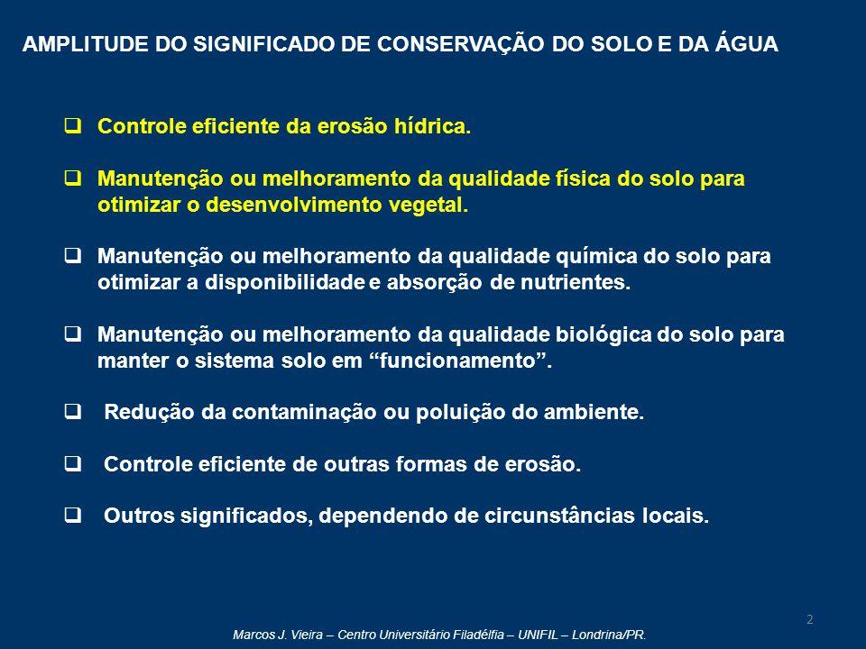 Marcos J. Vieira – Centro Universitário Filadélfia – UNIFIL – Londrina/PR. AMPLITUDE DO SIGNIFICADO DE CONSERVAÇÃO DO SOLO E DA ÁGUA  Controle eficie