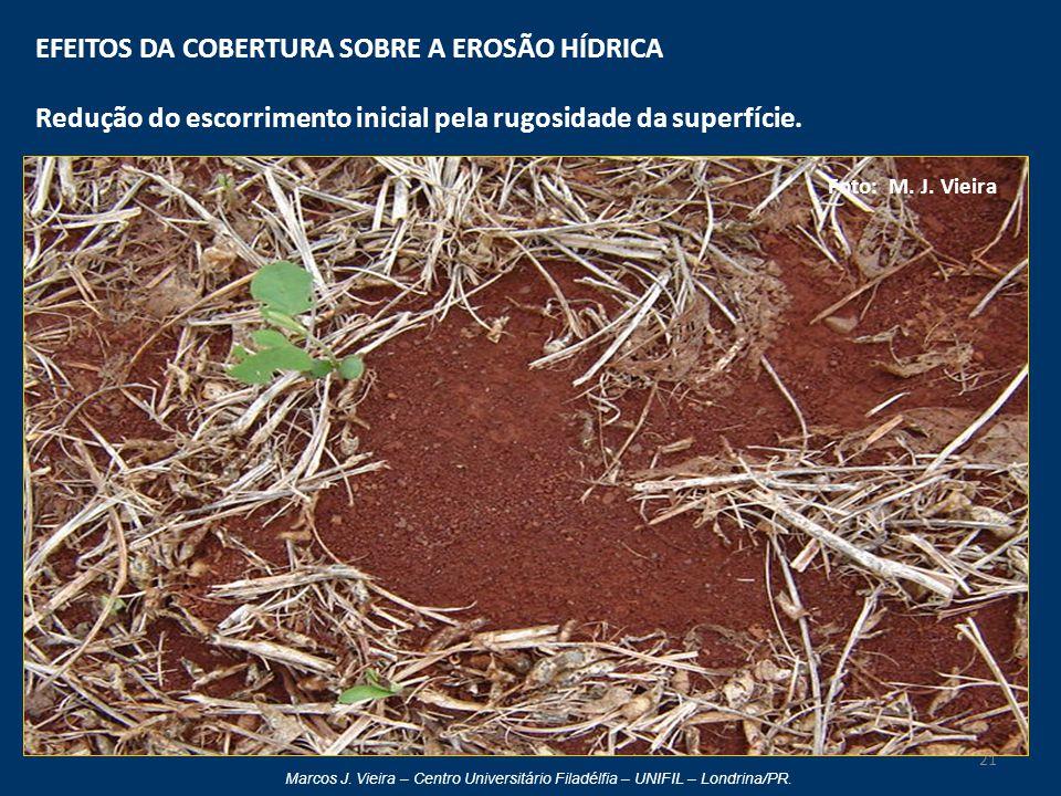 Marcos J. Vieira – Centro Universitário Filadélfia – UNIFIL – Londrina/PR. EFEITOS DA COBERTURA SOBRE A EROSÃO HÍDRICA Redução do escorrimento inicial