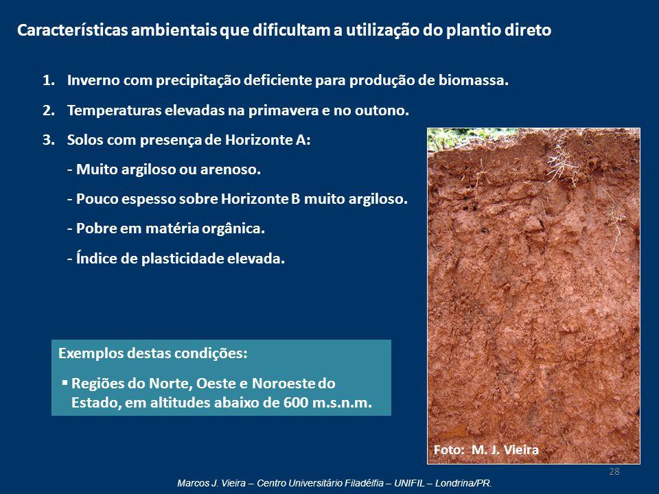 Marcos J. Vieira – Centro Universitário Filadélfia – UNIFIL – Londrina/PR. Características ambientais que dificultam a utilização do plantio direto 1.