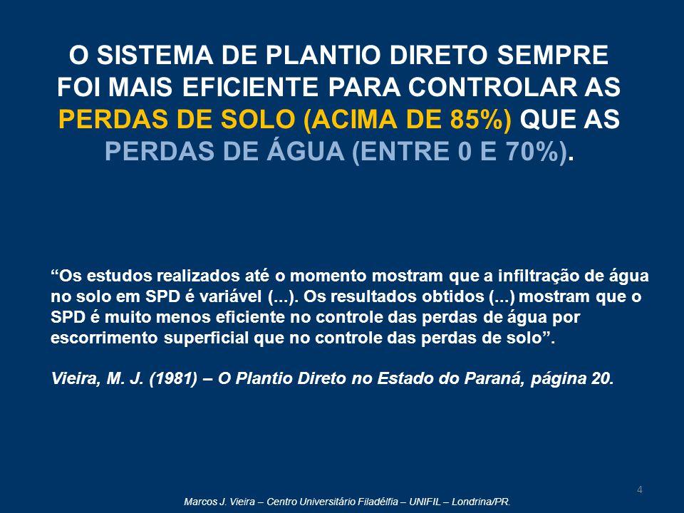 Marcos J. Vieira – Centro Universitário Filadélfia – UNIFIL – Londrina/PR. O SISTEMA DE PLANTIO DIRETO SEMPRE FOI MAIS EFICIENTE PARA CONTROLAR AS PER