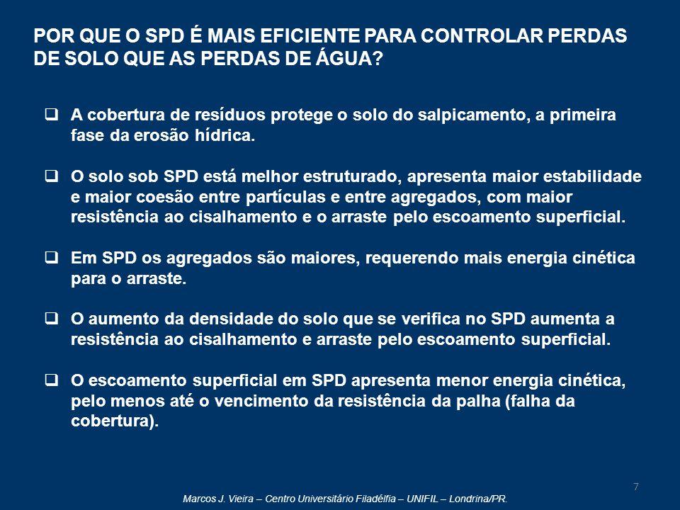 Marcos J. Vieira – Centro Universitário Filadélfia – UNIFIL – Londrina/PR. POR QUE O SPD É MAIS EFICIENTE PARA CONTROLAR PERDAS DE SOLO QUE AS PERDAS