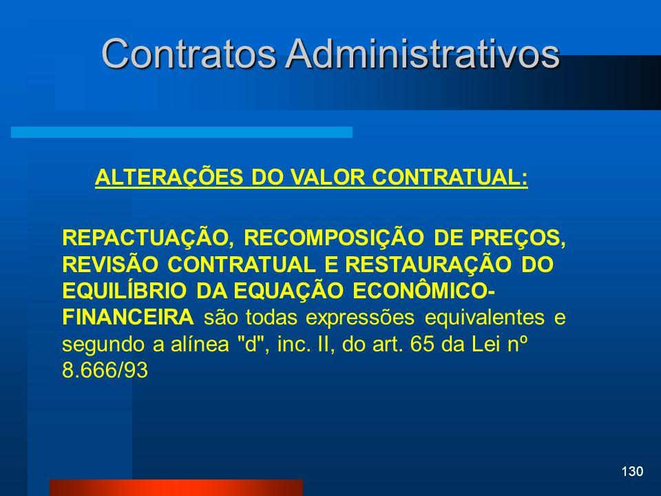 130 Contratos Administrativos ALTERAÇÕES DO VALOR CONTRATUAL: REPACTUAÇÃO, RECOMPOSIÇÃO DE PREÇOS, REVISÃO CONTRATUAL E RESTAURAÇÃO DO EQUILÍBRIO DA E
