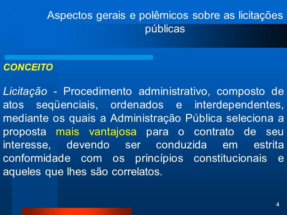 4 CONCEITO Licitação - Procedimento administrativo, composto de atos seqüenciais, ordenados e interdependentes, mediante os quais a Administração Públ