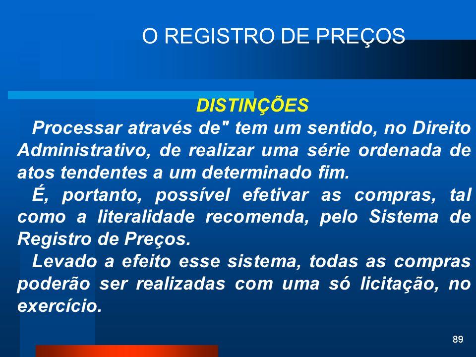 89 O REGISTRO DE PREÇOS DISTINÇÕES Processar através de