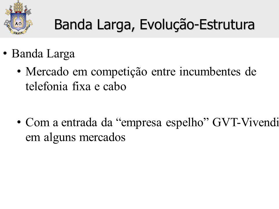 """• Banda Larga • Mercado em competição entre incumbentes de telefonia fixa e cabo • Com a entrada da """"empresa espelho"""" GVT-Vivendi em alguns mercados B"""