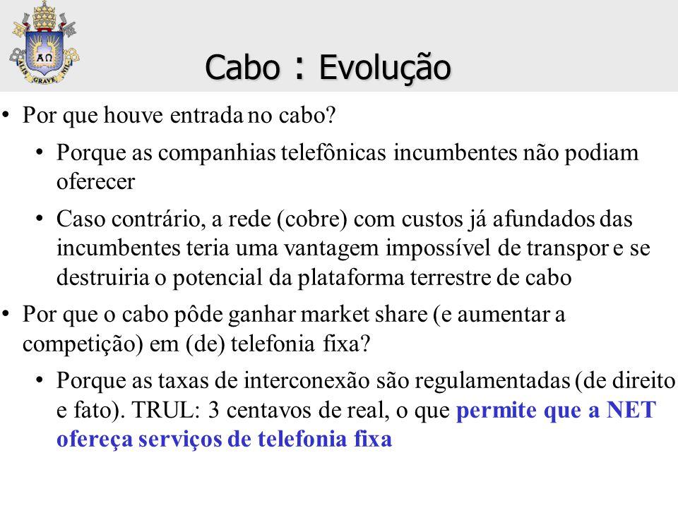 • Por que houve entrada no cabo? • Porque as companhias telefônicas incumbentes não podiam oferecer • Caso contrário, a rede (cobre) com custos já afu