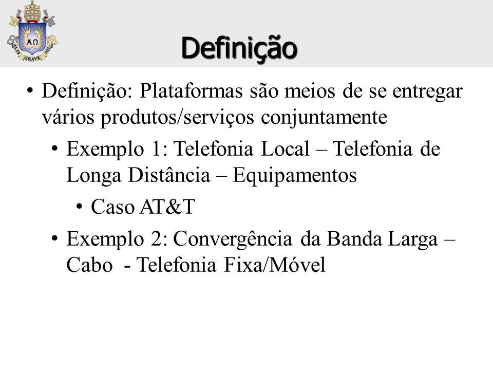 • Definição: Plataformas são meios de se entregar vários produtos/serviços conjuntamente • Exemplo 1: Telefonia Local – Telefonia de Longa Distância –